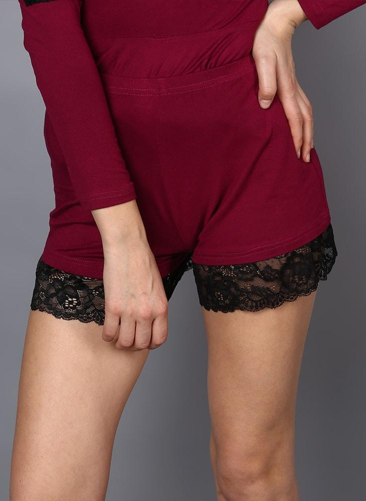 Magenta Short Set with Lace Hem