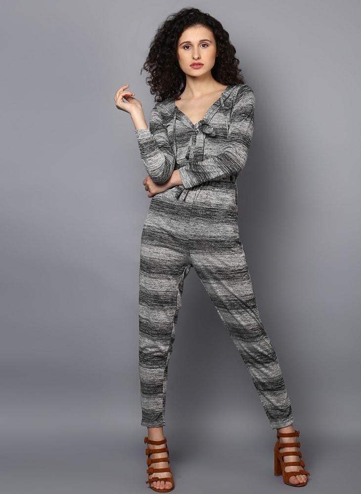 Striped Jumpsuit with Front Knot