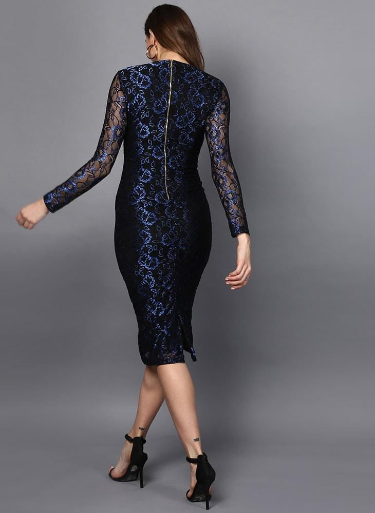Metallic Blue Lace Body Con Dress
