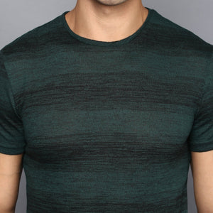 Dark Green Contrast Stripe T-shirt