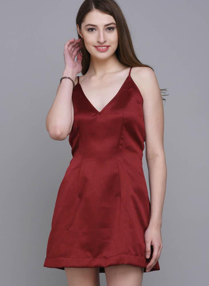 Maroon V-Neck Satin A-line Dress