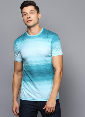Turquoise Blue Ombre Crew Neck T-Shirt