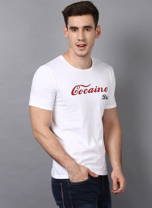 'COCAINE DIET' Printed Basic White T-Shirt