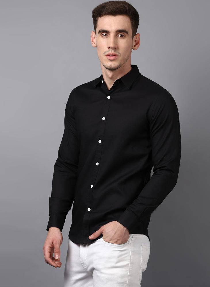 f0fba7d1333 Black Button down Shirt with Contrast White Buttons – Benoit