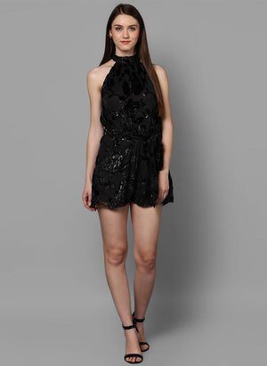 Black Georgette Romper with Tie-up Belt