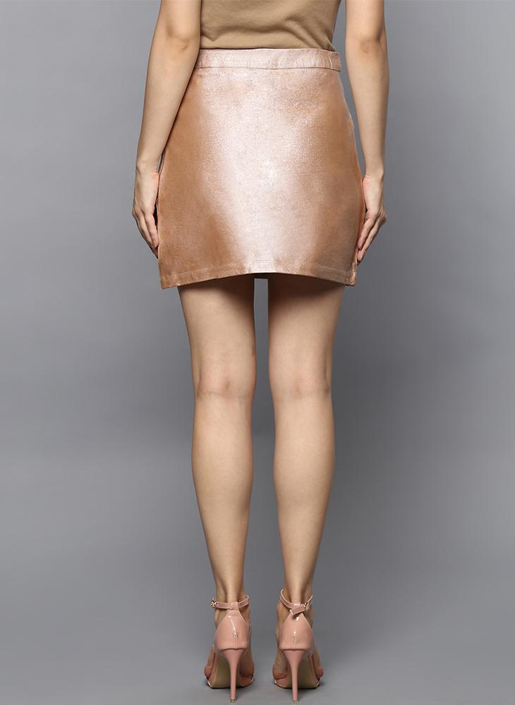 Peach Metallic A-line skirt