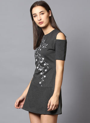 Cold Shoulder Front Embroidered Dress
