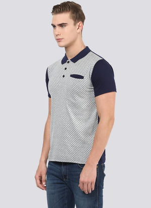 Grey Dotted Polo Neck with Contrast Collar & Sleeve