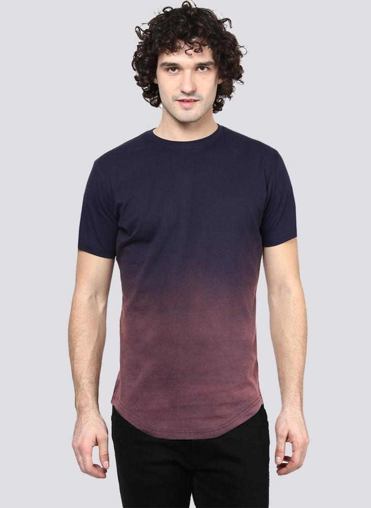 Purple Ombre Faded Crew Neck T-Shirt
