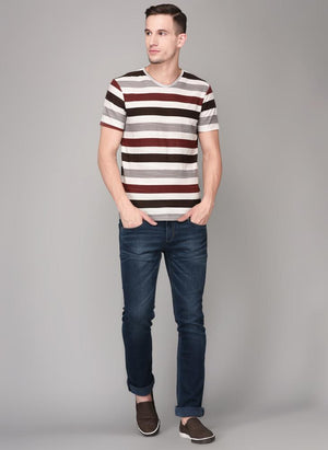 Multi-Coloured Stripe Round Neck T-shirt