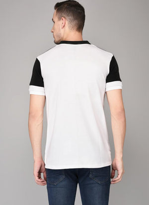 Cut & Sew Polo Neck T-shirt with White button placket