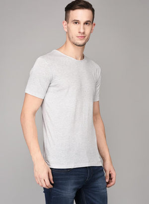Grey Textured Round Neck T-shirt