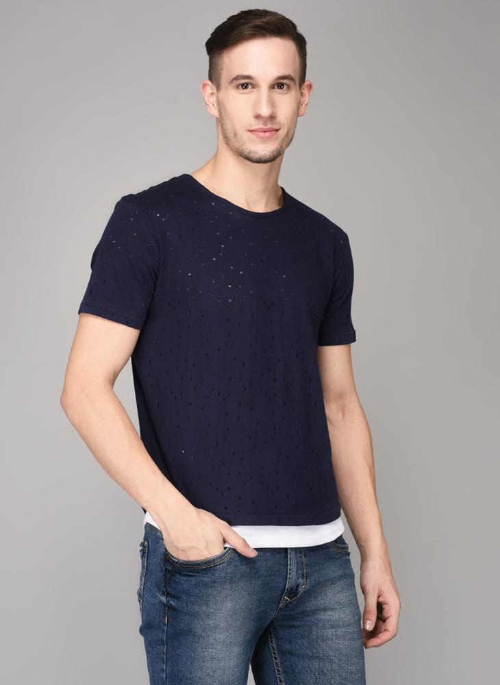 Navy Distressed T-shirt with White lining