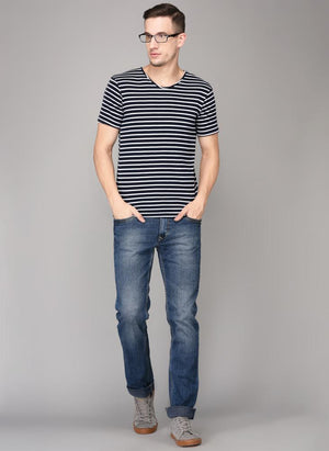Navy & White Striped Round Neck T-shirt