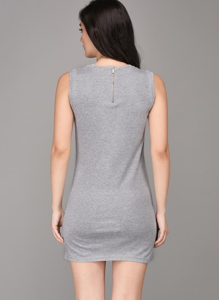 'Lost Lover' Printed Grey Basic Dress