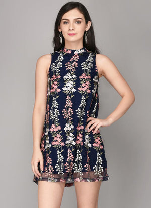 Navy Embroidered High Collar Dress