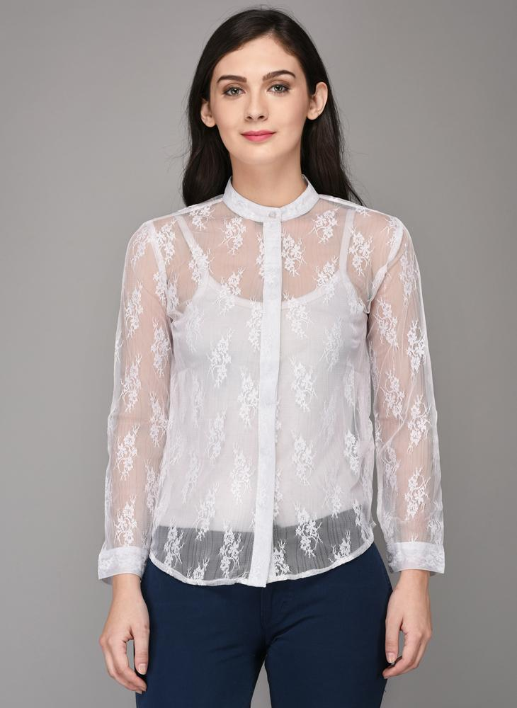 White Lace Shirt with Concealed Button Placket