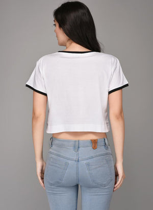 TOUCHE' Printed White Crop Top