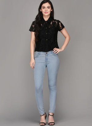 Black Lace Half Sleeve Shirt
