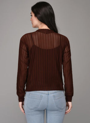 Brown Textured Full Sleeve Jumper