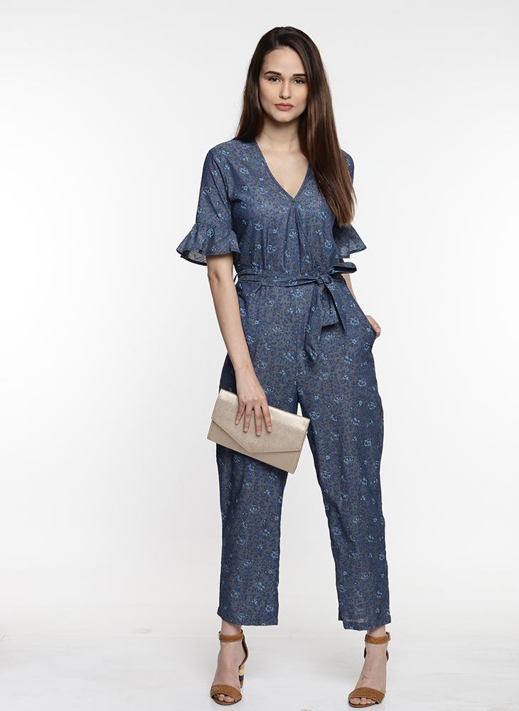 Blue Floral Jumpsuit with Waist Belt and Frill Sleeve