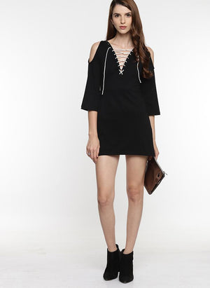 Black Tunic with Tie-Up Detail