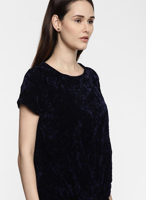 Navy Velvet Top with Front Knot