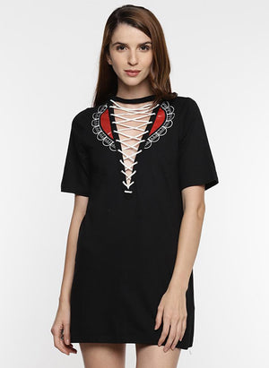 Black Shift Dress with Front Print & Tie-Up Detail