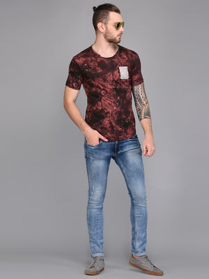 Dark Floral Printed T-shirt with Contrast Pocket detail