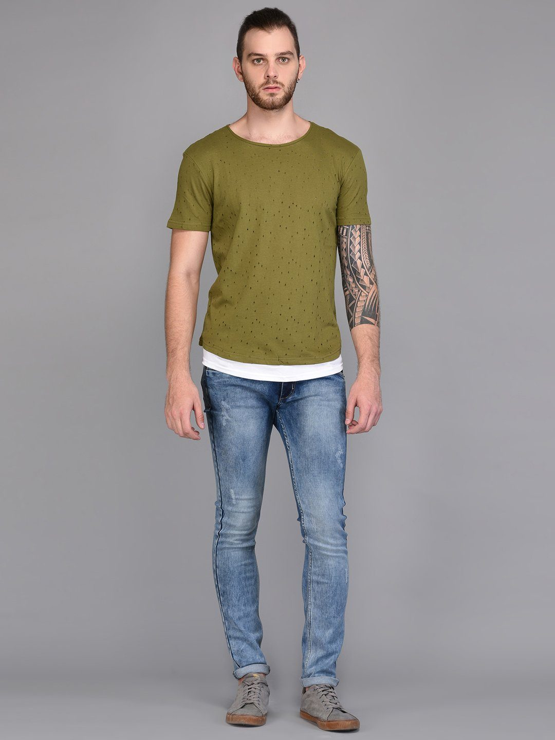Olive Distressed T-shirt with Contrast Lining