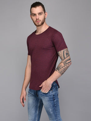 Burgandy Basic Melange T-shirt