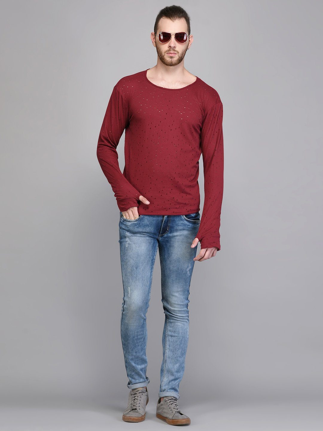 Red Distressed Full Sleeve T-shirt