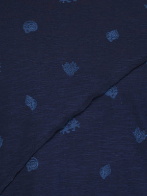 Navy Printed T-shirt with Piping Detail