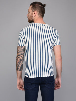 Vertical Striped Blue & White T-shirt