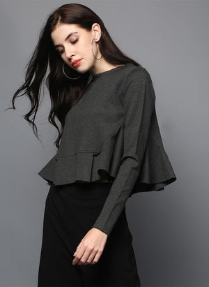 Charcoal Grey Pleated Crop Top