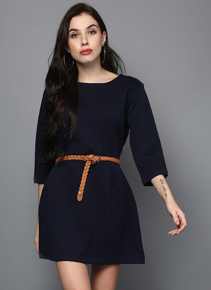 Navy blue double dart dress