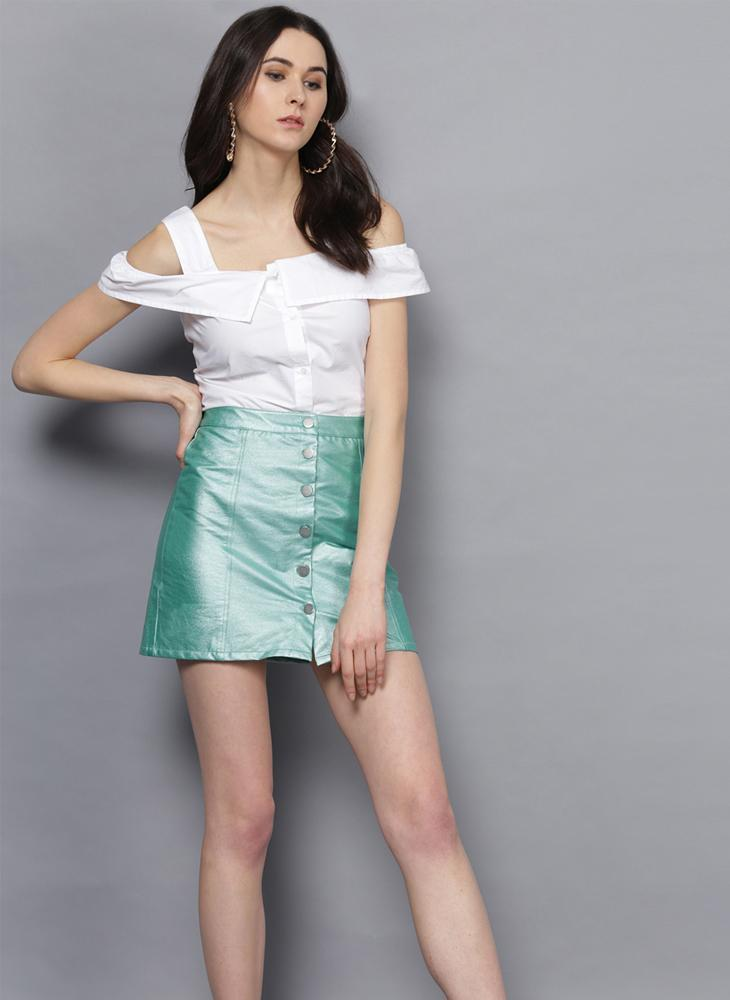 Metallic Green Skirt with Front Button Placket