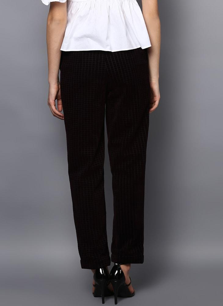 Checkered Velvet Flared Trousers