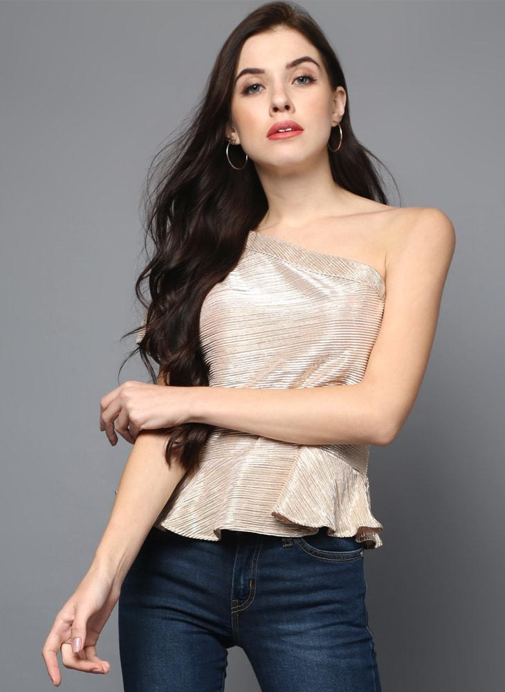 597463c34dc74 Gold Metallic One-shoulder Cropped Top