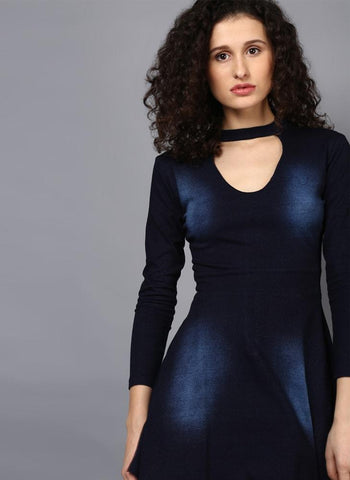 Indigo Wash A-Line Choker Dress