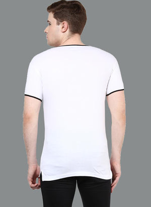 White Round Neck T-Shirt with Contrast Rib