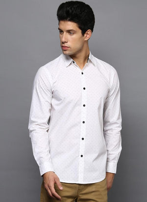 White Contrast Dotted Printed Shirt