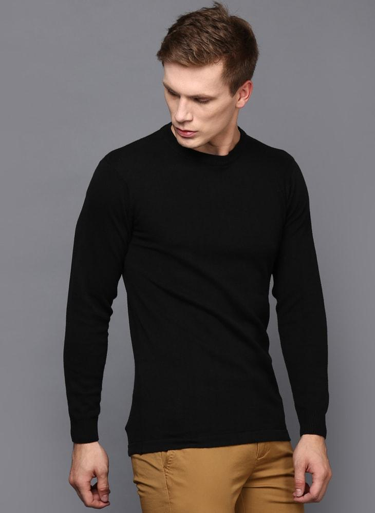 Black Crew Neck Long Sleeved Jumper