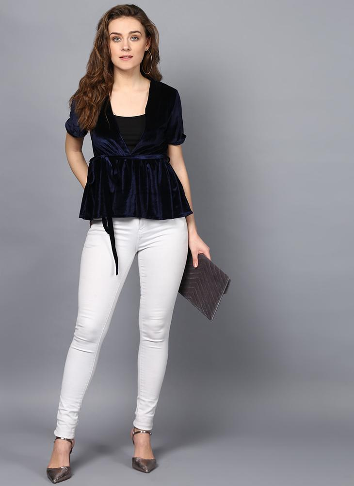 Navy Velvet V-Neck Top with Waist Belt