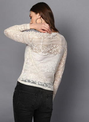 Off-White Lace Full Sleeve Top