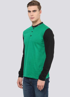 Green Henley T-shirt with Contrast Collar & Sleeves