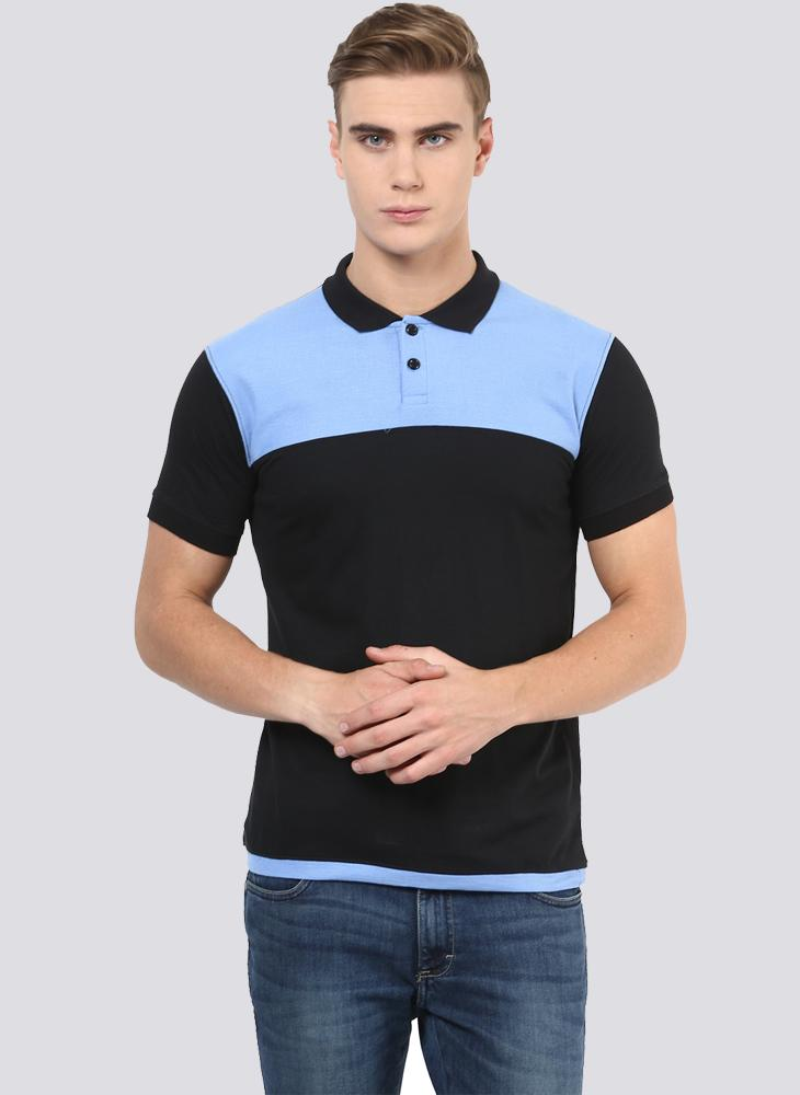 Black & Blue Polo Neck T-shirt