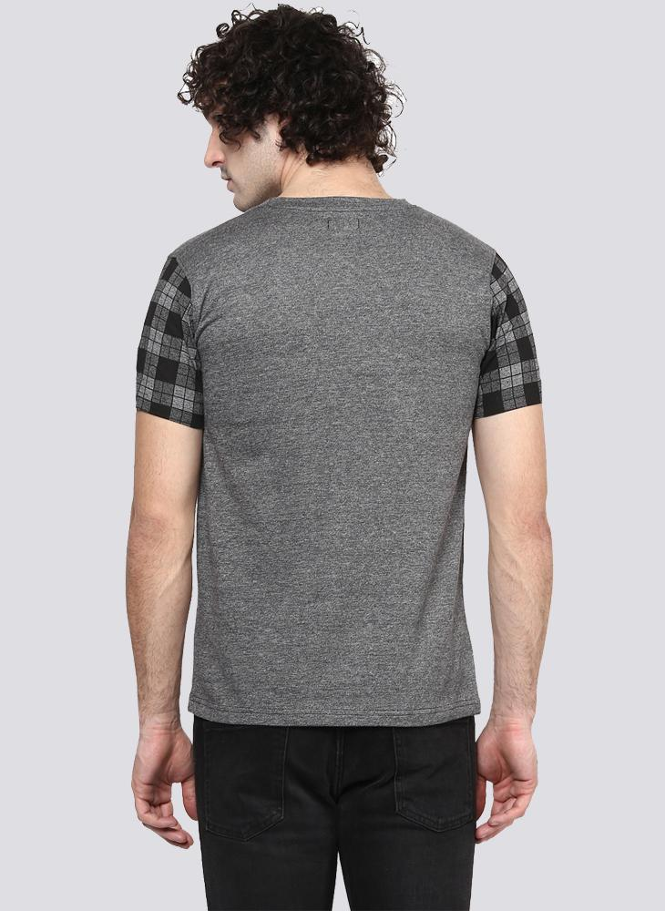 Basic Grey T-Shirt with Contrast Sleeve & Pocket detail