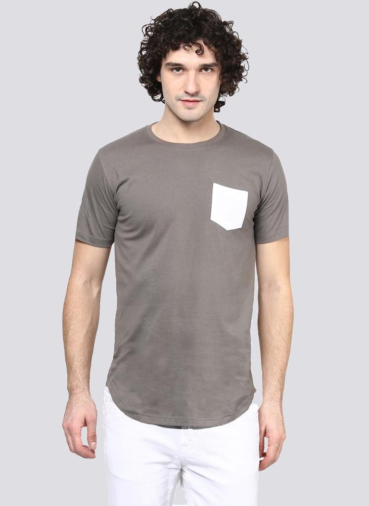 Basic Grey T-Shirt with Contrast Pocket