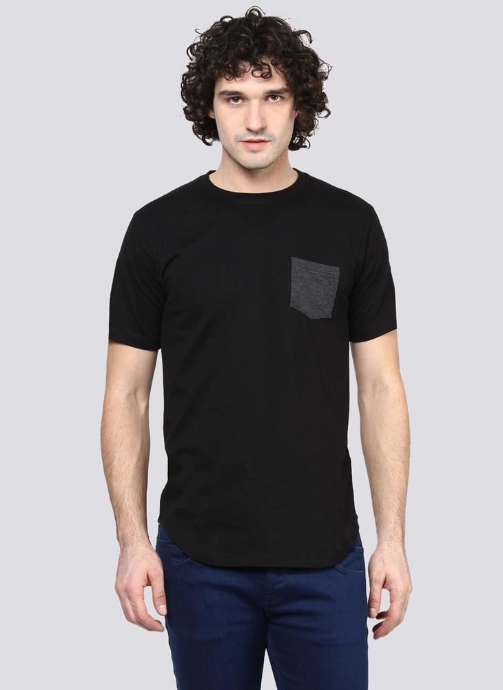 Basic Black T-Shirt with Contrast Pocket